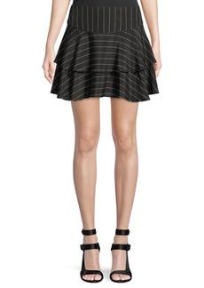 Alice + Olivia Paloma Pinstripe Ruffle Skirt