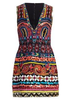 Alice + Olivia Patty Embellished V-Neck Mini Dress
