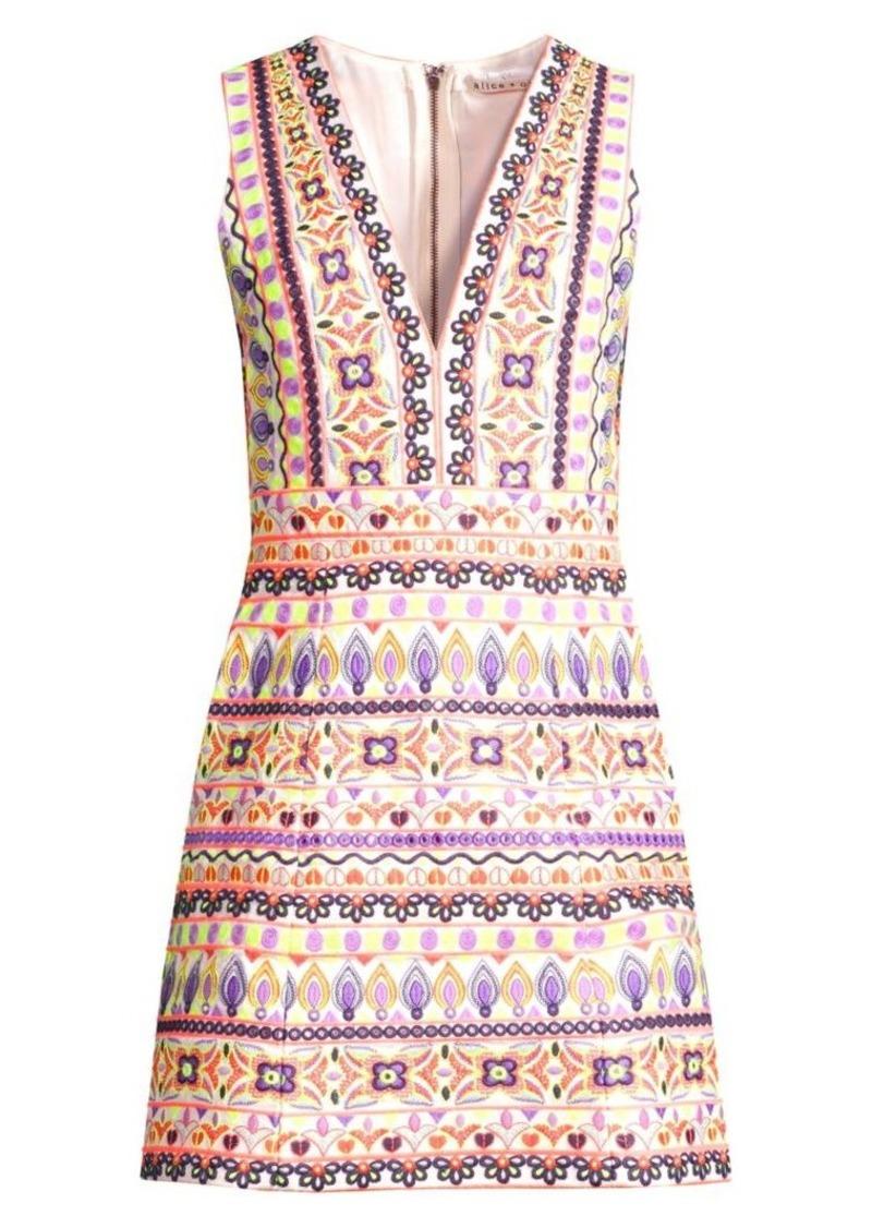 Alice + Olivia Patty Embroidered V-Neck Mini Dress
