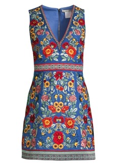 Alice + Olivia Patty Floral-Embroidered A-Line Dress