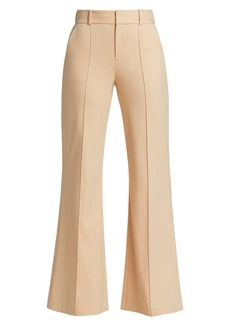 Alice + Olivia Paula High-Rise Wool-Blend Pintuck Flare Pants