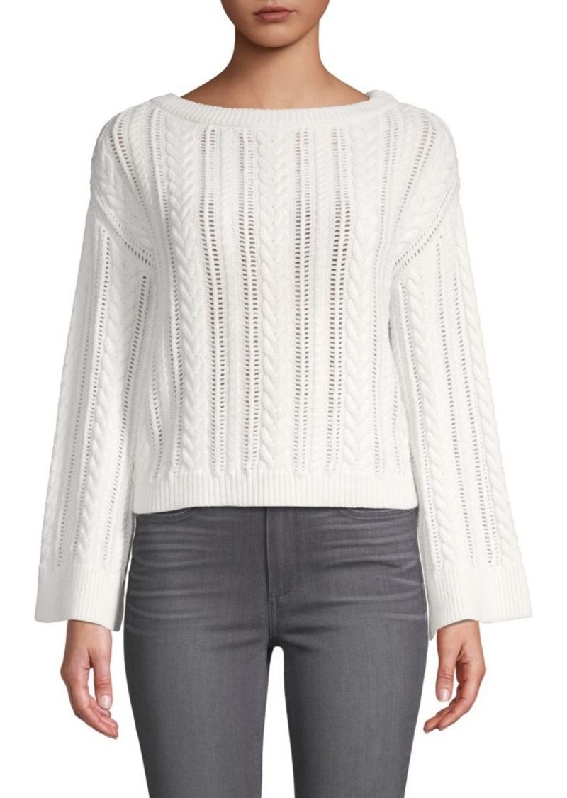 Alice + Olivia Perforated Cable-Knit Top