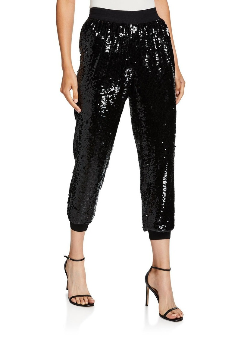 Alice + Olivia Pete Cropped Sequin Jogger Pants