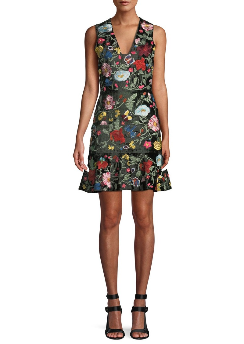 Alice + Olivia Peyton Embellished Square Neck Dress