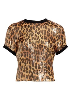 Alice + Olivia Piera Coated Leopard Rib-Trim Tee