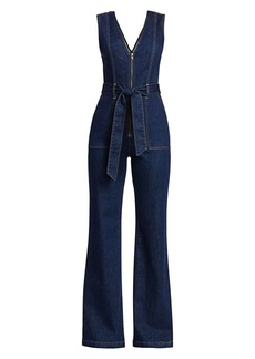 Alice + Olivia Plunging V-Neck Denim Jumpsuit