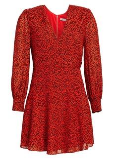 Alice + Olivia Polly Leopard Print Faux Wrap Mini Dress