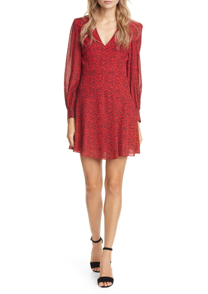 Alice + Olivia Polly Red Leopard Print Long Sleeve Fit & Flare Dress