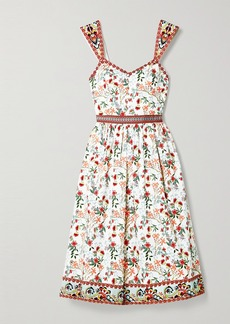 Alice + Olivia Portia Floral-print Cotton-blend Poplin Midi Dress