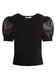 Alice + Olivia Posey Lace Puff-Sleeve Tee