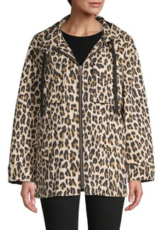 Alice + Olivia Printed Stretch-Cotton Hooded Jacket