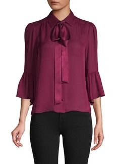 Alice + Olivia Puffed-Sleeve Silk-Blend Top