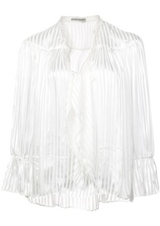 Alice + Olivia pussy bow striped blouse