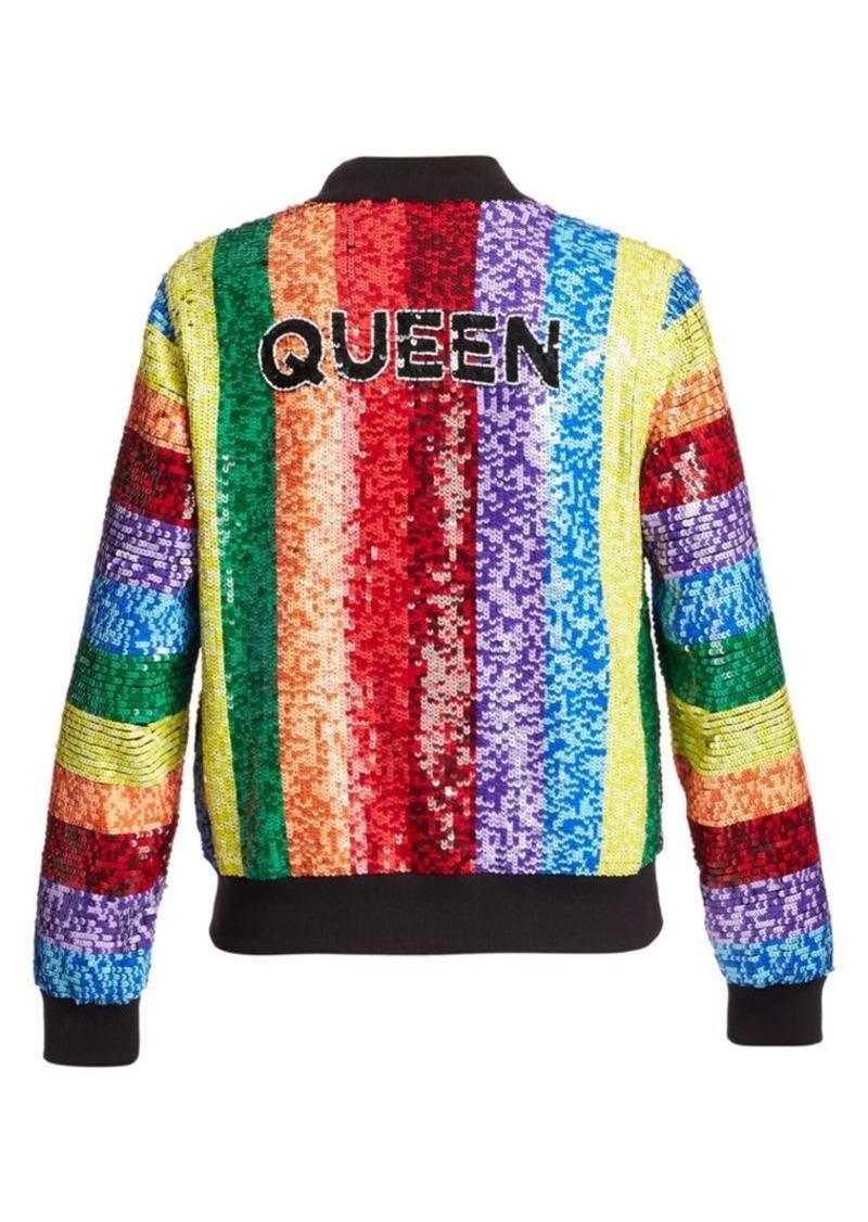 Alice + Olivia Queen Sequin Rainbow Bomber Jacket