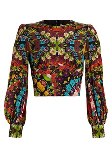 Alice + Olivia Quilla Floral Silk Crop Blouse