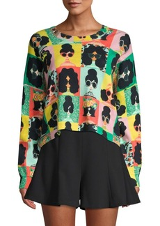 Alice + Olivia Quintin Face Print Sweater