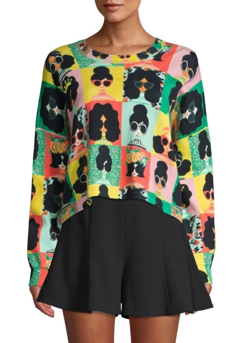 Alice + Olivia Quintin Face Print Sweater