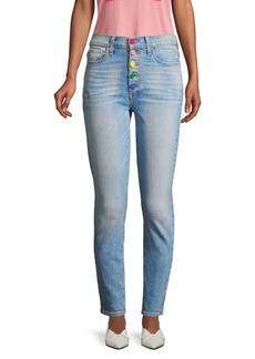 Alice + Olivia Rainbow Button Jeans