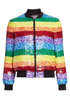 Alice + Olivia Rainbow Sequin Bomber Jacket