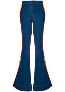 Alice + Olivia rainbow side panel flared jeans