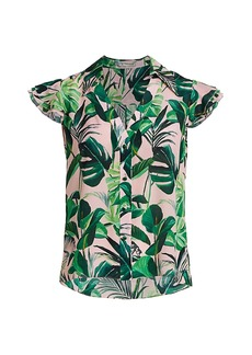 Alice + Olivia Randa Tropical Ruffle-Sleeve Blouse