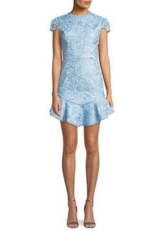Alice + Olivia Rapunzel Curved-Hem Lace Fit-and-Flare Dress