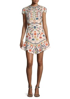 Alice + Olivia Rapunzel Embellished Flounce Dress