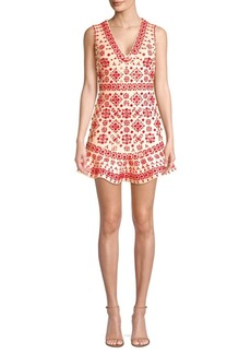 Alice + Olivia Rapunzel Embellished Flounce Sheath Dress