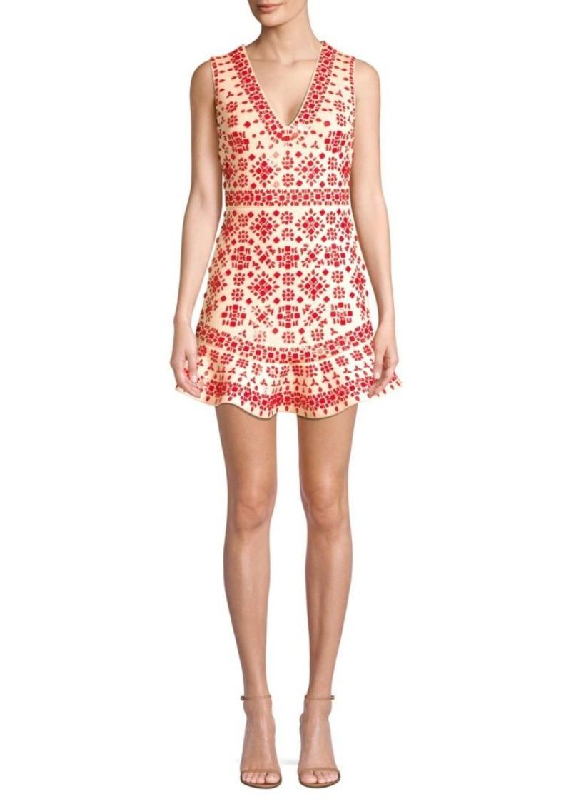 Alice + Olivia Rapunzel Embellished Flounce Sheath Dress