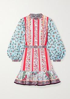 Alice + Olivia Raya Chiffon-trimmed Floral-print Cotton-poplin Mini Dress