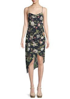 Alice + Olivia Reena Draped Floral Open-Back Dress