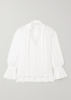 Alice + Olivia Reilly Pussy-bow Ruffled Georgette Blouse