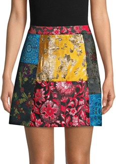 Alice + Olivia Riley Patchwork A-Line Skirt