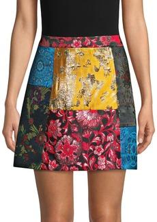 Alice + Olivia Riley Patchwork A-Line Skirt