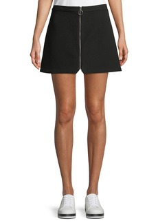 Alice + Olivia Riley Zip-Front A-Line Mini Skirt