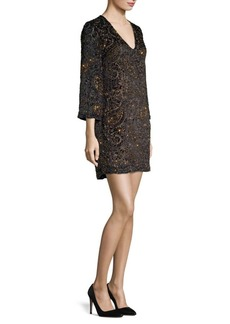 Alice + Olivia Riska Embellished Paisley Jacquard Shift Dress
