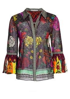 Alice + Olivia Rivera Floral & Diamond Print Silk-Blend Bell-Sleeve Blouse