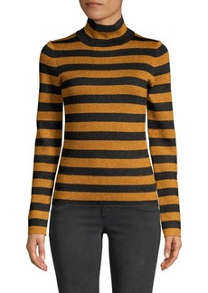 Alice + Olivia Roberta Metallic Stripe Turtleneck Top