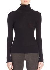 Alice + Olivia Roberta Ribbed Cutout Silk Blend Sweater
