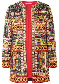 Alice + Olivia Rory Embellished Embroidered Silk Jacket