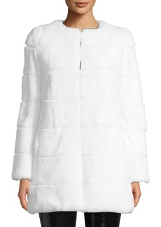Alice + Olivia Rory Rabbit-Fur Collarless Coat