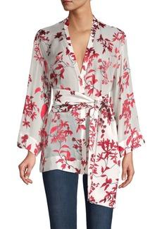 Alice + Olivia Rosario Leaf-Print Tie-Waist Kimono