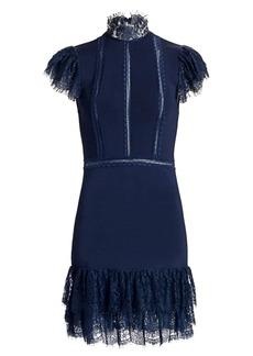 Alice + Olivia Roset Lace Flutter-Sleeve Mini Dress