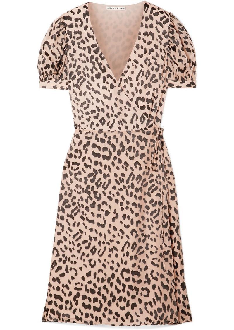 Alice + Olivia Rosette Fil Coupé Chiffon Wrap Dress