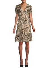 Alice + Olivia Rosette Leopard-Print Wrap Dress