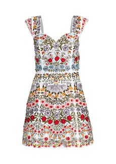 Alice + Olivia Roz Floral Embroidered A-Line Dress