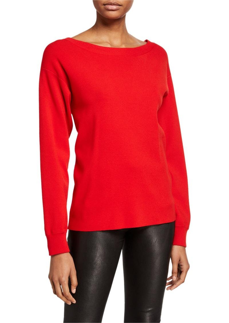 Alice + Olivia Ruela Split-Back Sweater with Hardware Detail