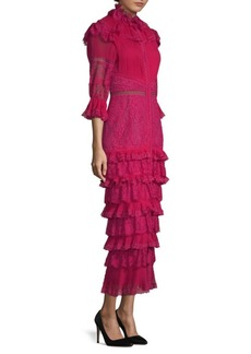 Alice + Olivia Ruffled Lace Midi Dress
