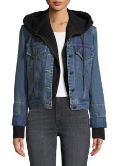 Alice + Olivia Rumor Boxy Hooded Denim Jacket