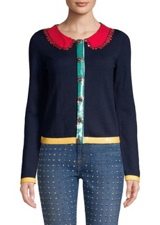 Alice + Olivia Ruthy Faux-Collar Stretch Wool Cardigan
